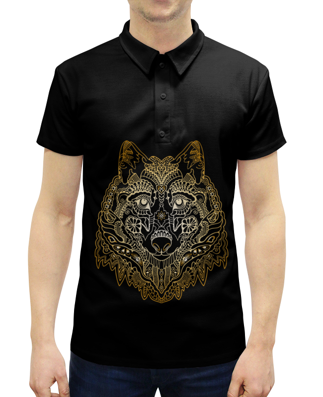 Рубашка Поло с полной запечаткой Printio Голова волка