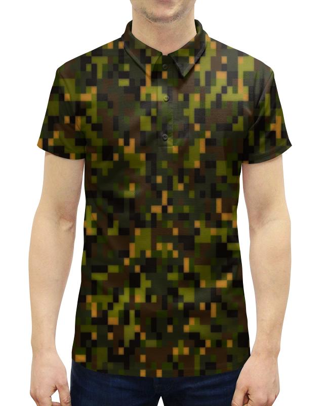 Рубашка Поло с полной запечаткой Printio Камуфляж лесной