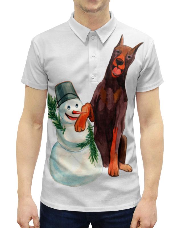 Рубашка Поло с полной запечаткой Printio Забавная акварельная собака, символ 2018 года футболка классическая printio акварельная новогодняя забавная собака