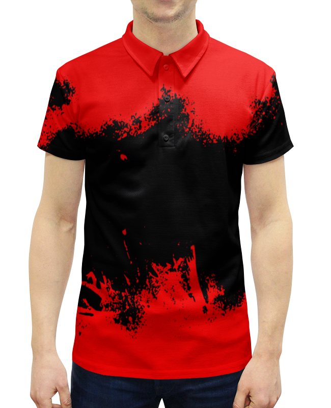 Рубашка Поло с полной запечаткой Printio Черно-красные краски цена