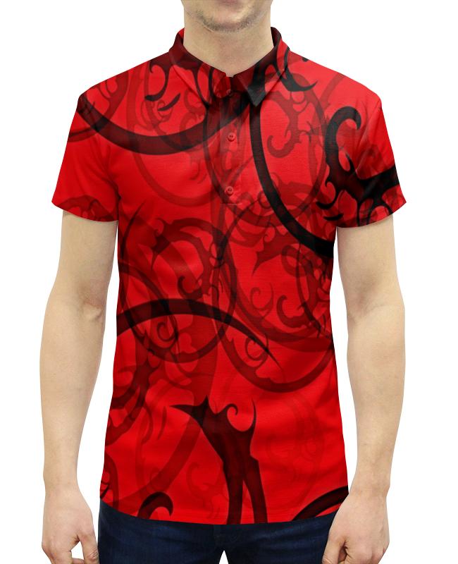 Рубашка Поло с полной запечаткой Printio Черно-красный узор рубашка fox цвет красный