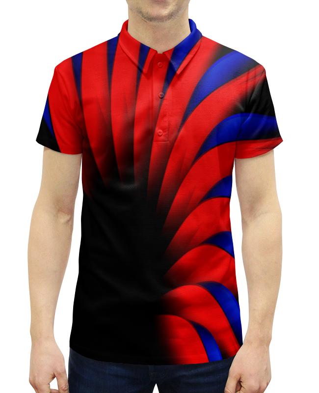 Рубашка Поло с полной запечаткой Printio Сине-красный цена и фото