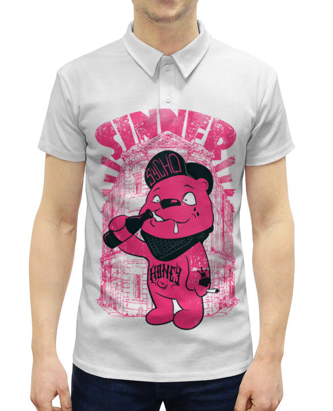 Printio Медведь бандит рубашка поло с полной запечаткой printio монстр