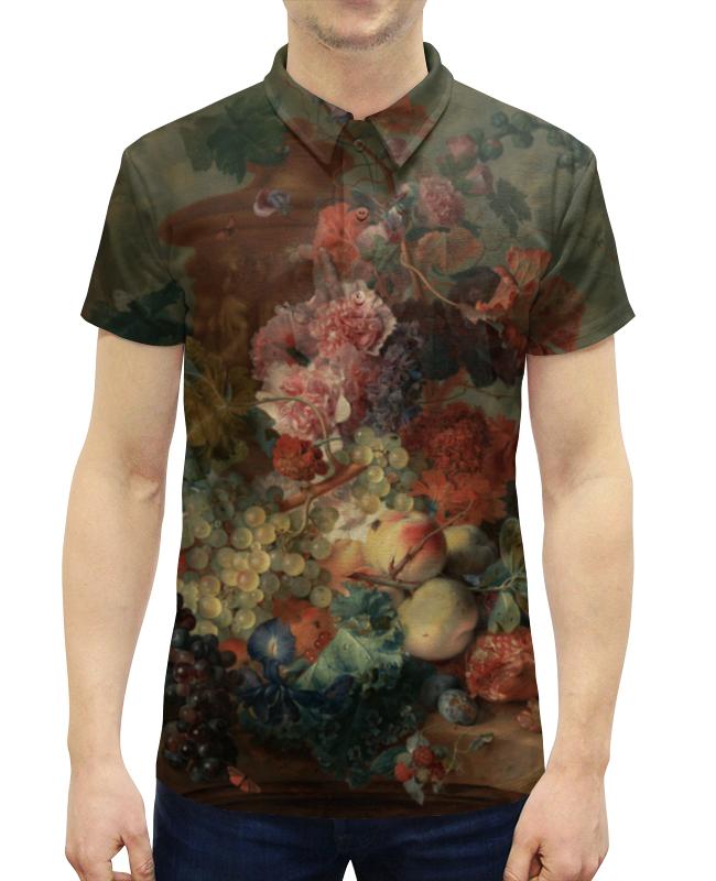 Рубашка Поло с полной запечаткой Printio Цветы (ян ван хёйсум) фартук с полной запечаткой printio цветы ян ван хёйсум
