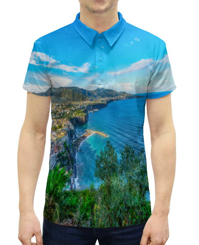 Рубашка Поло с полной запечаткой Printio Город на берегу