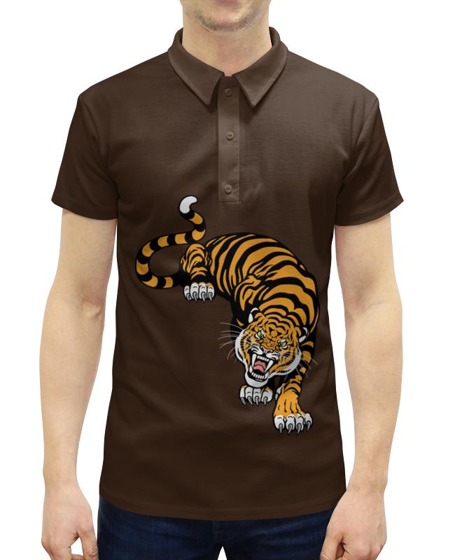 Рубашка Поло с полной запечаткой Printio Свирепый тигр подушка 60х40 с полной запечаткой printio свирепый тигр