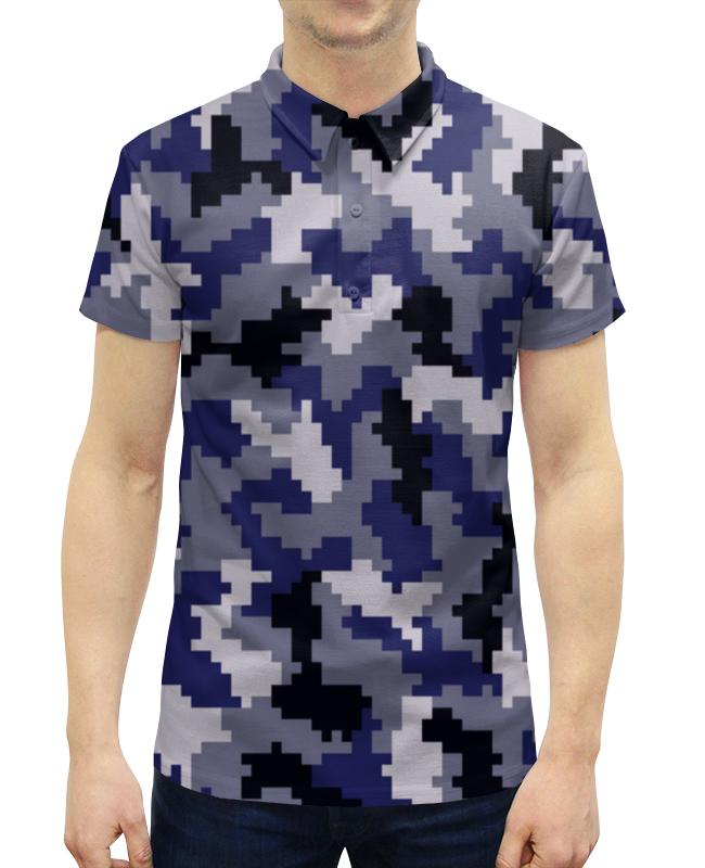 Рубашка Поло с полной запечаткой Printio Лазурный камуфляж