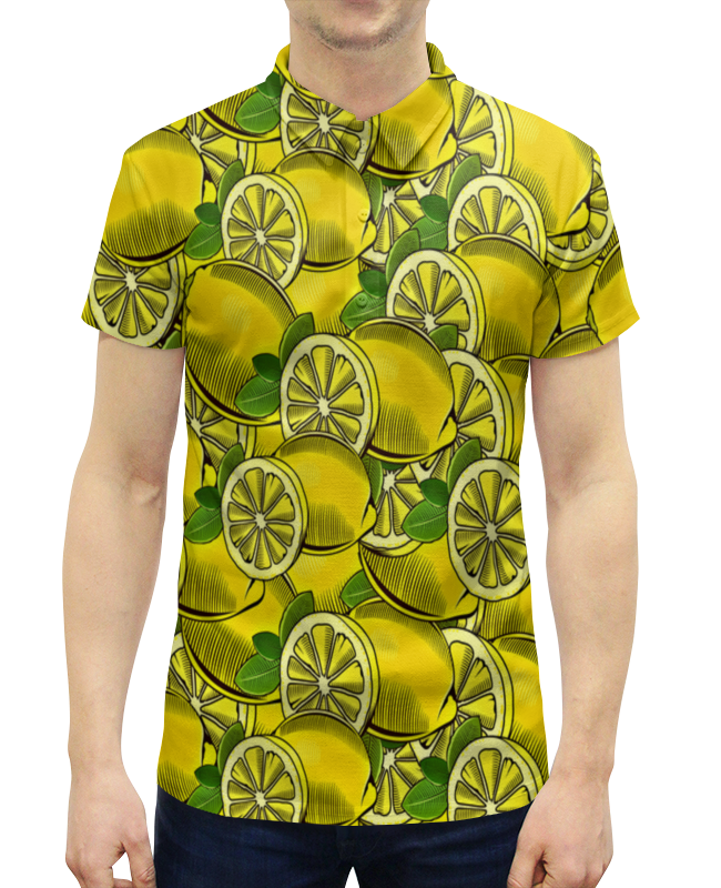 Рубашка Поло с полной запечаткой Printio Лимон