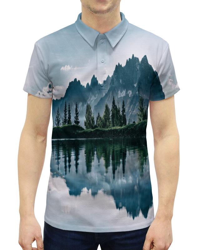 Рубашка Поло с полной запечаткой Printio Отражение гор недорого
