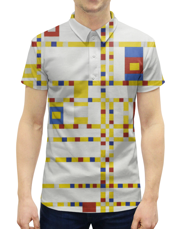 Рубашка Поло с полной запечаткой Printio Бродвей буги-вуги (питер мондриан) чехол для samsung galaxy s5 printio бродвей буги вуги питер мондриан