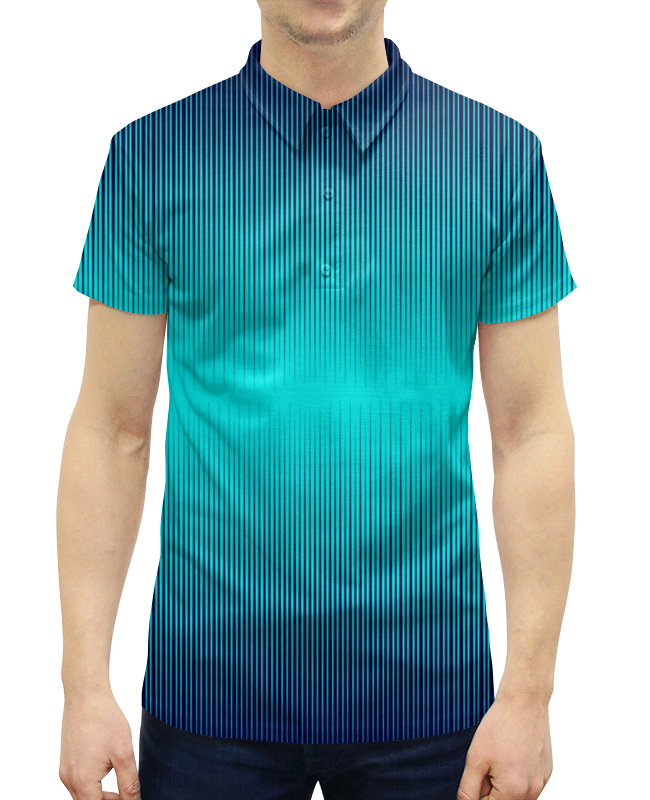 все цены на Рубашка Поло с полной запечаткой Printio Синие полосы онлайн