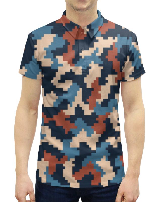 Рубашка Поло с полной запечаткой Printio Камуфляж синий