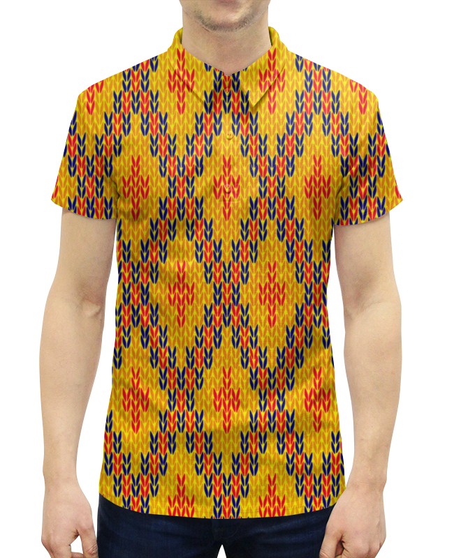 Рубашка Поло с полной запечаткой Printio Узор вязаный рубашка поло с полной запечаткой printio вязаный узор