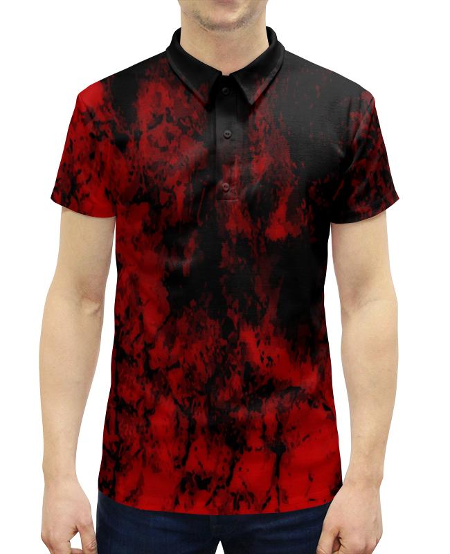 Рубашка Поло с полной запечаткой Printio Черно-красный