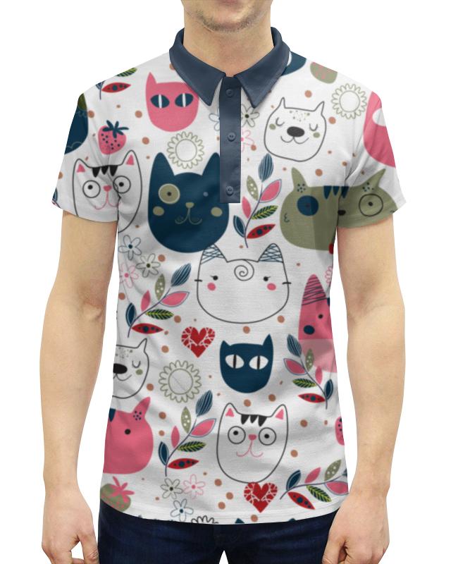 Рубашка Поло с полной запечаткой прикольные коты
