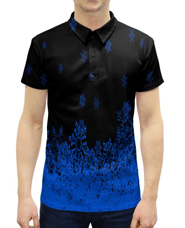 Рубашка Поло с полной запечаткой Printio Синие снежинки костюм маленькой снежинки 32