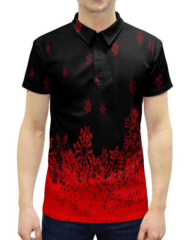 цена на Рубашка Поло с полной запечаткой Printio Красные снежинки