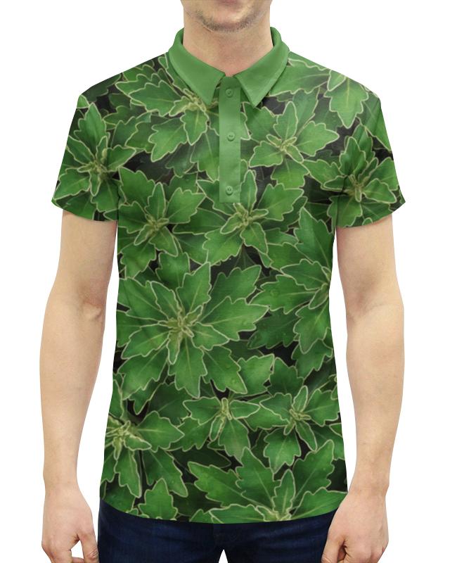 Рубашка Поло с полной запечаткой Printio Зеленые листья цена и фото