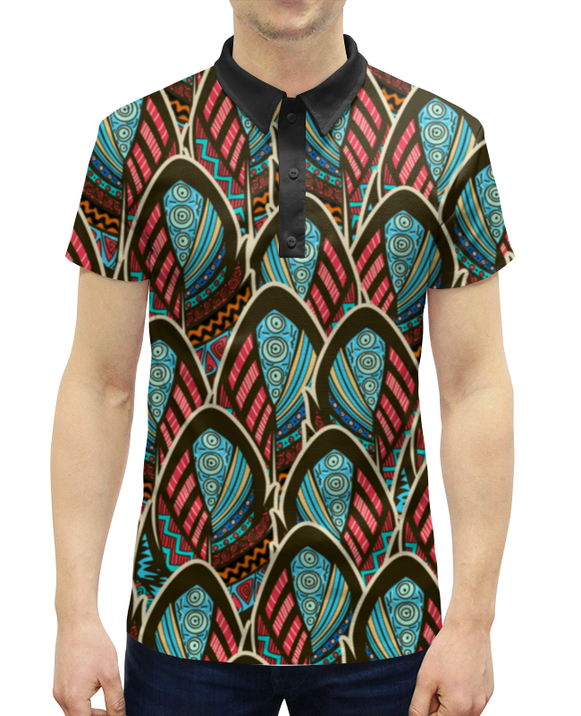 Рубашка Поло с полной запечаткой Printio Перья бохо