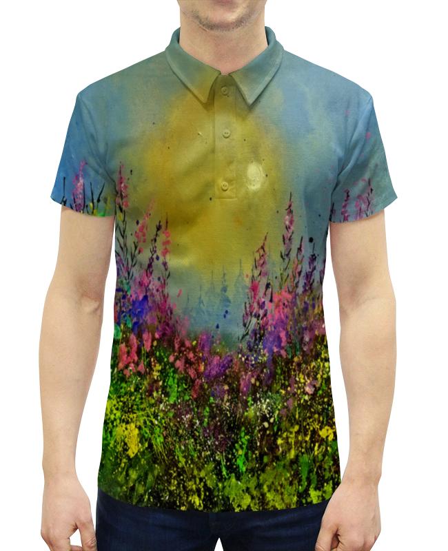 Рубашка Поло с полной запечаткой Printio Весенний пейзаж