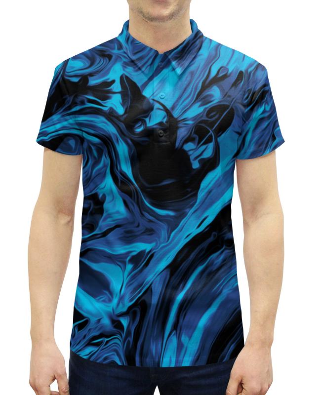 Рубашка Поло с полной запечаткой Printio Черно-синие краски рубашка поло printio биткоин черно белый