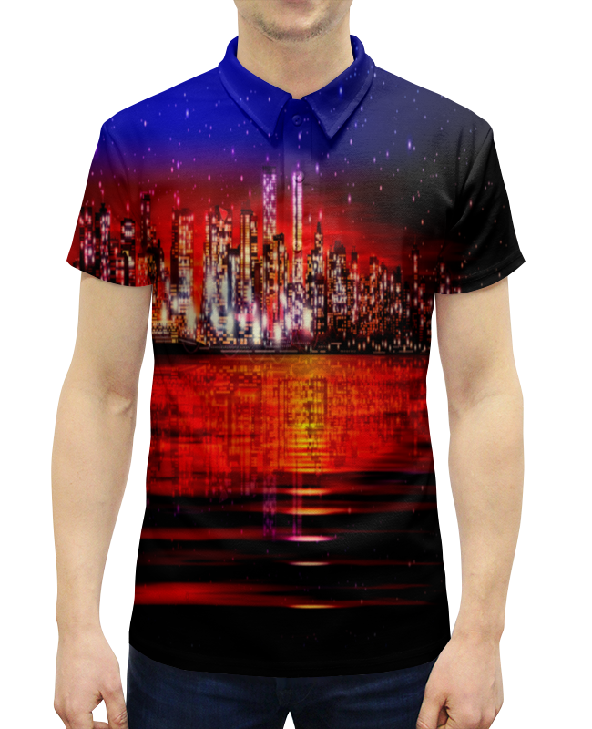 Рубашка Поло с полной запечаткой Printio Ночной город