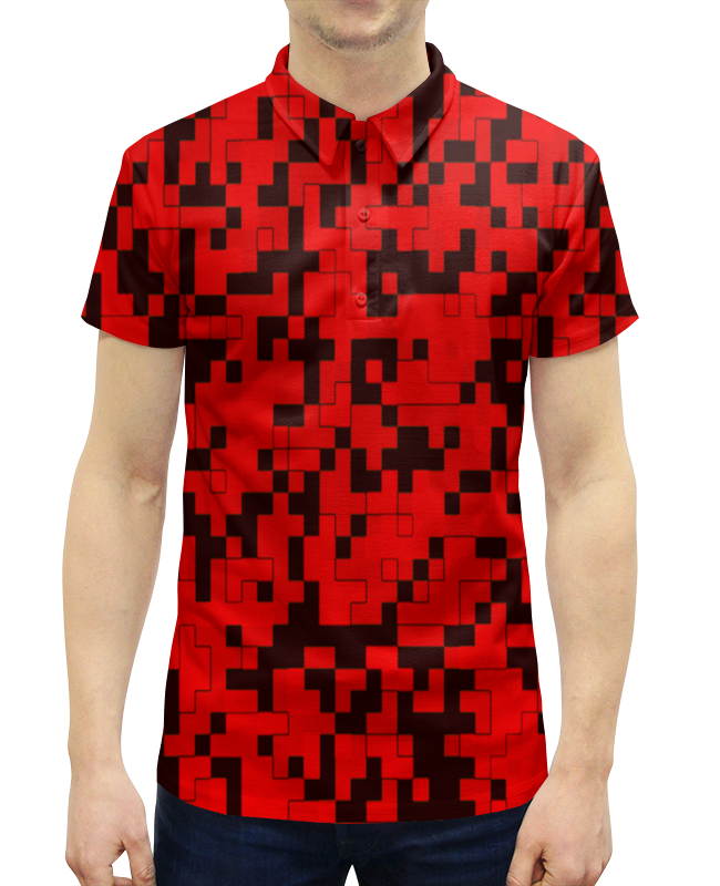 Рубашка Поло с полной запечаткой Printio Красный камуфляж цена