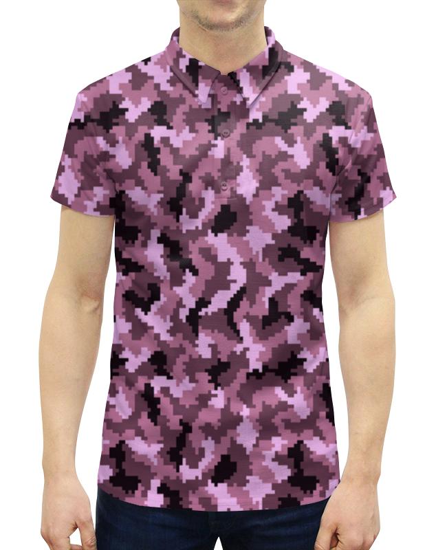 Рубашка Поло с полной запечаткой Printio Фиолетовый камуфляж