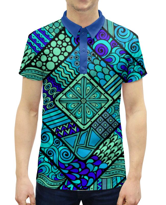 Рубашка Поло с полной запечаткой Printio Этнический узор жен велоспорт ожерелья с подвесками мода этнический перо темно синий цвет радуги светло синий 70cm ожерелье назначение