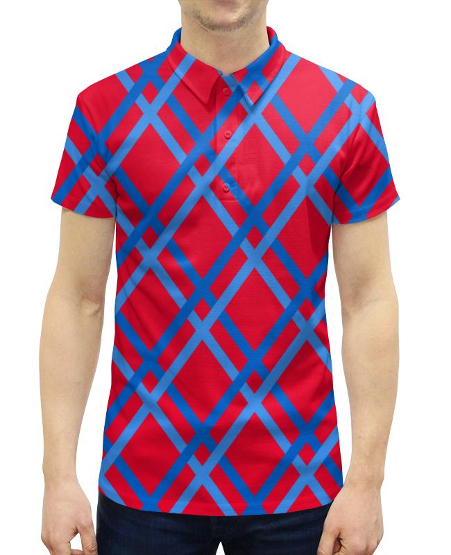 Рубашка Поло с полной запечаткой Printio Сине-голубые линии рубашка поло с полной запечаткой printio оранжевые линии