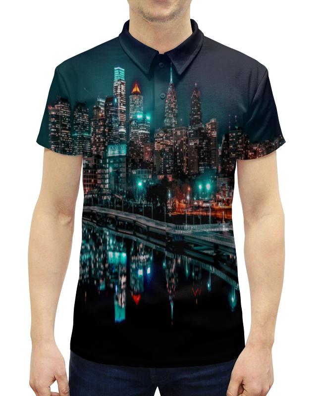 Рубашка Поло с полной запечаткой Printio Ночные огни ночные сорочки и рубашки