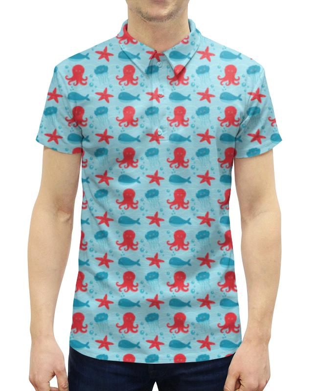 Рубашка Поло с полной запечаткой Printio Морские обитатели луч морские обитатели