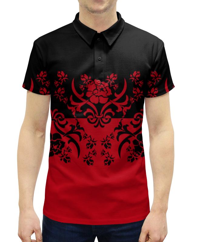 Рубашка Поло с полной запечаткой Printio Красно-черный mayoral рубашка поло красно синяя в полоску