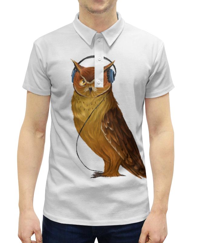 все цены на Рубашка Поло с полной запечаткой Printio Сова в наушниках онлайн