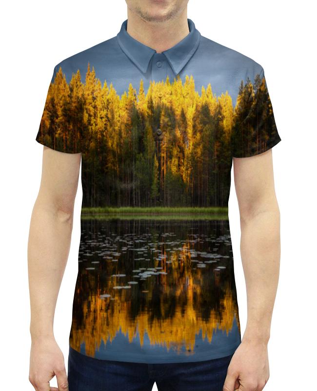 Рубашка Поло с полной запечаткой Printio Осенний пейзаж чехол для iphone 5 глянцевый с полной запечаткой printio осенний день сокольники левитан