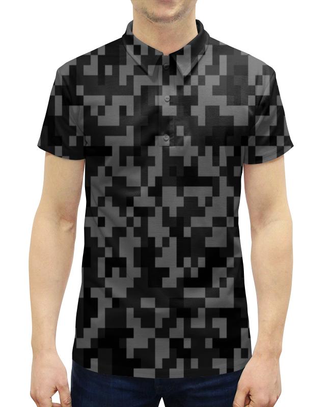 Рубашка Поло с полной запечаткой Printio Серый камуфляж