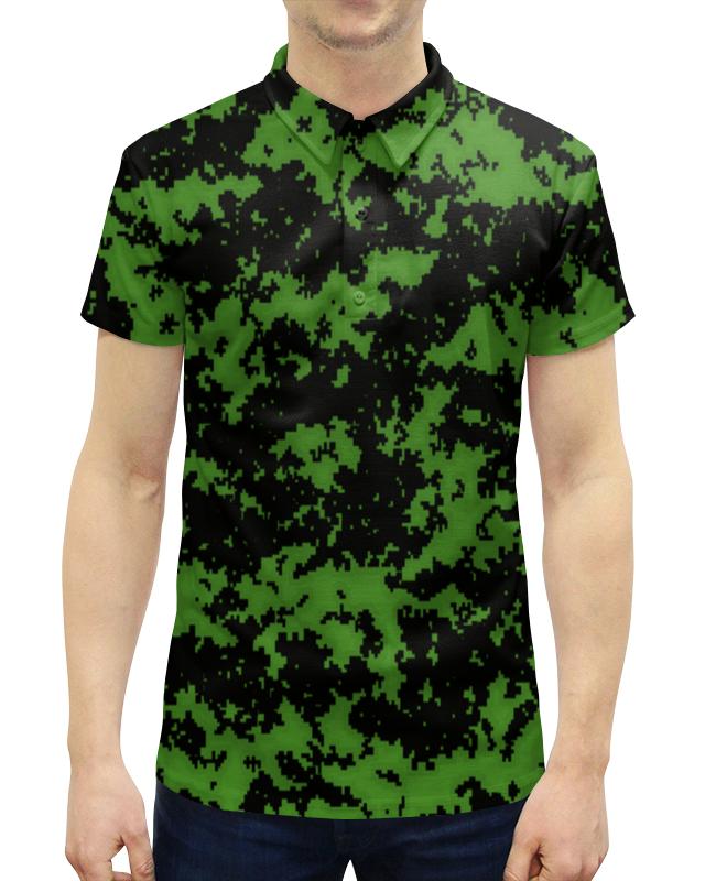 Рубашка Поло с полной запечаткой Printio Камуфляж зеленый