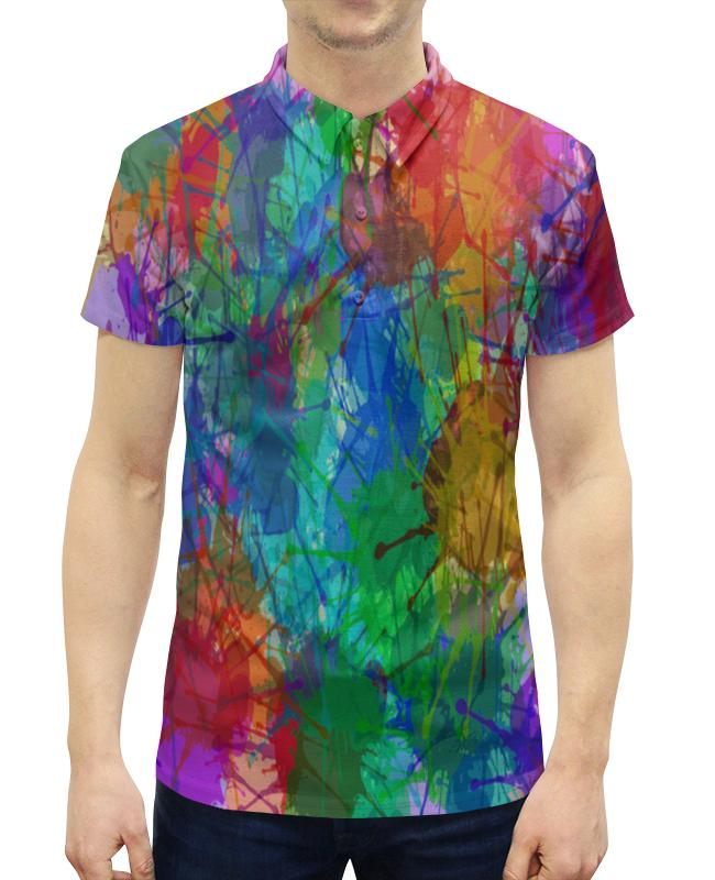 Рубашка Поло с полной запечаткой Printio Цветные пятна рубашка поло с полной запечаткой printio пятна краски