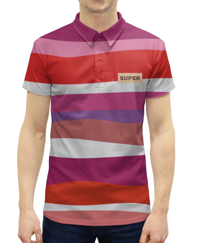 Рубашка Поло с полной запечаткой Printio Красные волны рубашка поло с полной запечаткой printio волны психоделика