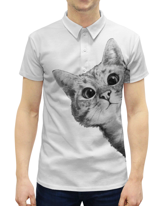 Printio Любопытный кот поло print bar кот единорог