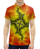 """Рубашка Поло с полной запечаткой """"Стихия"""" - взрыв, молния, фрактал, стихия"""