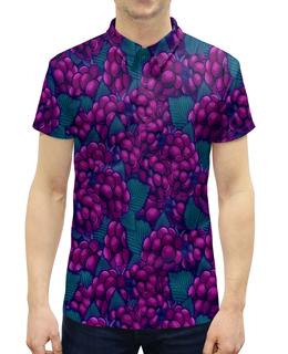 """Рубашка Поло с полной запечаткой """"виноград"""" - ягоды, природа, фиолетовый, плоды, листья"""
