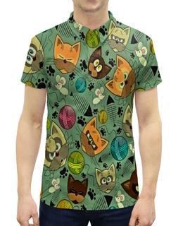 """Рубашка Поло с полной запечаткой """"Кот и мышь"""" - кот, животные, мышь, коты, котята"""