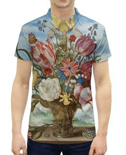 """Рубашка Поло с полной запечаткой """"Букет цветов на полке (Амброзиус Босхарт)"""" - цветы, картина, живопись, натюрморт, босхарт"""