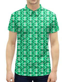 """Рубашка Поло с полной запечаткой """"Ретро #1"""" - волны, круги, зеленый, светлый, темный"""