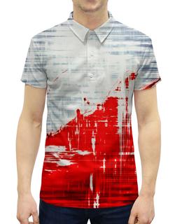 """Рубашка Поло с полной запечаткой """"Пятна краски"""" - белый, красный, пятна, краски, брызги"""