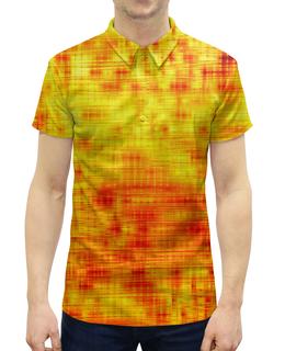 """Рубашка Поло с полной запечаткой """"Текстура"""" - полосы, желтый, краски, текстура, линии"""
