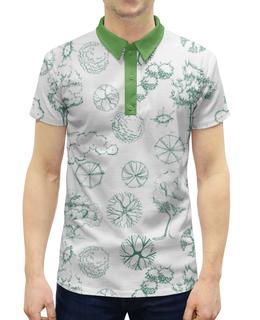 """Рубашка Поло с полной запечаткой """"Деревья в стиле """"скетч"""""""" - деревья, 23февраля, мужчинам, скетч, природа"""