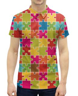 """Рубашка Поло с полной запечаткой """"PUZZLE"""" - арт, стиль, дизайн, графика"""
