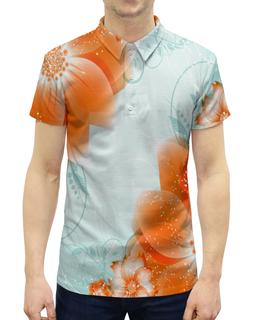 """Рубашка Поло с полной запечаткой """"цветы"""" - цветы, узоры, листья, весна, роспись"""